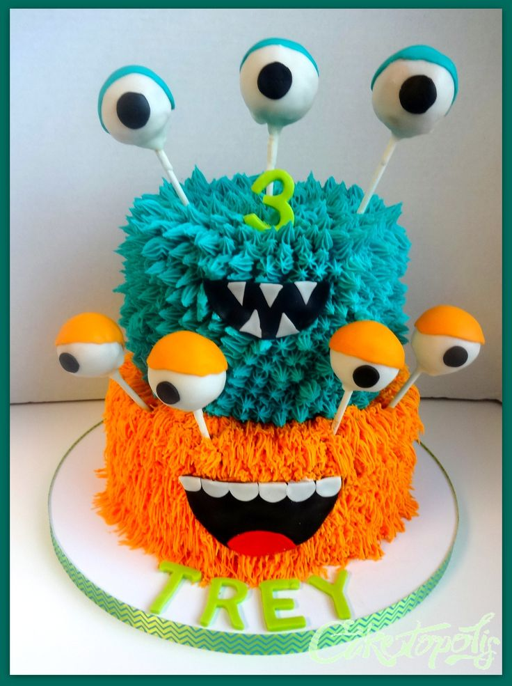 Monster Birthday Cake - Buttercream monster cake with cake balls for the eyes.