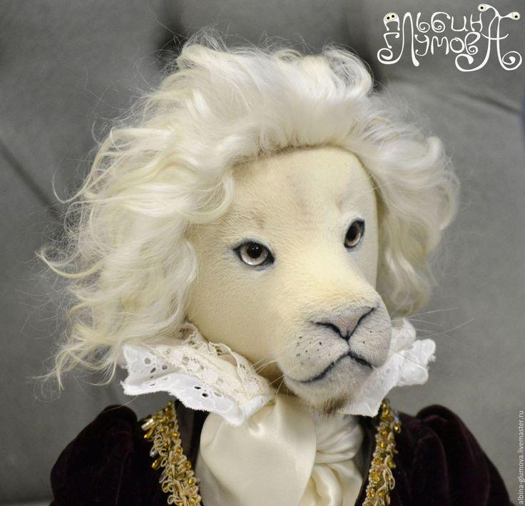 """Купить """"Мой король"""", авторская коллекционная текстильная кукла. - лев, Король лев, белый"""