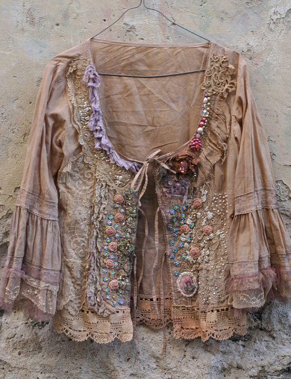 Baroque inspired romantic jacket/blouse, hand dyed in sand and cream, has been reworked with beautiful ornate antique laces and vintage trims. Youll