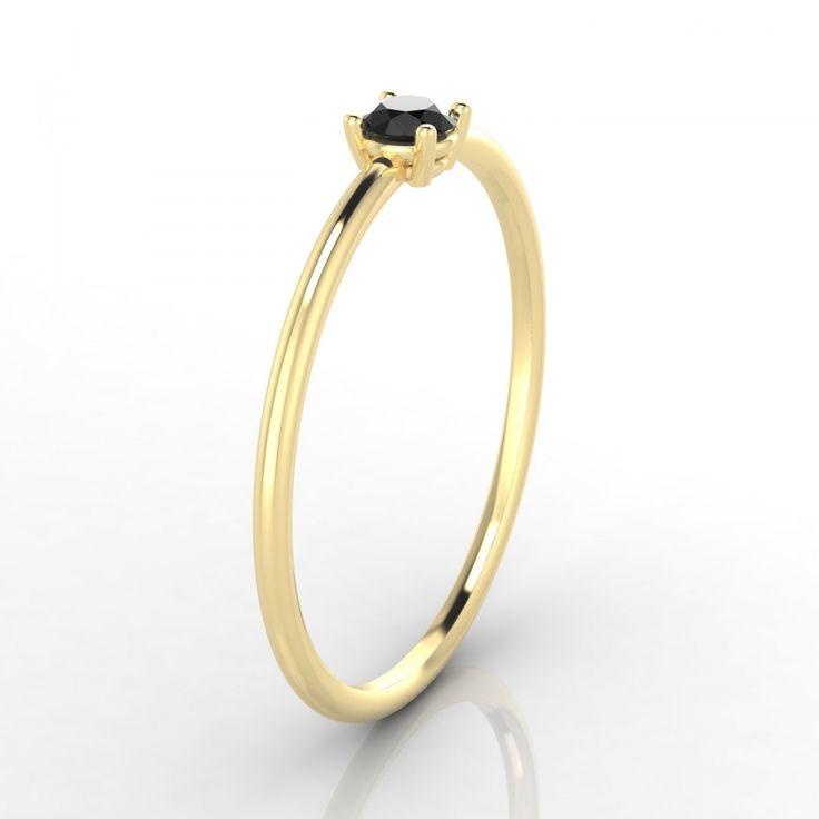 Blanche Bague Diamant noir en Or jaune 18k - 1