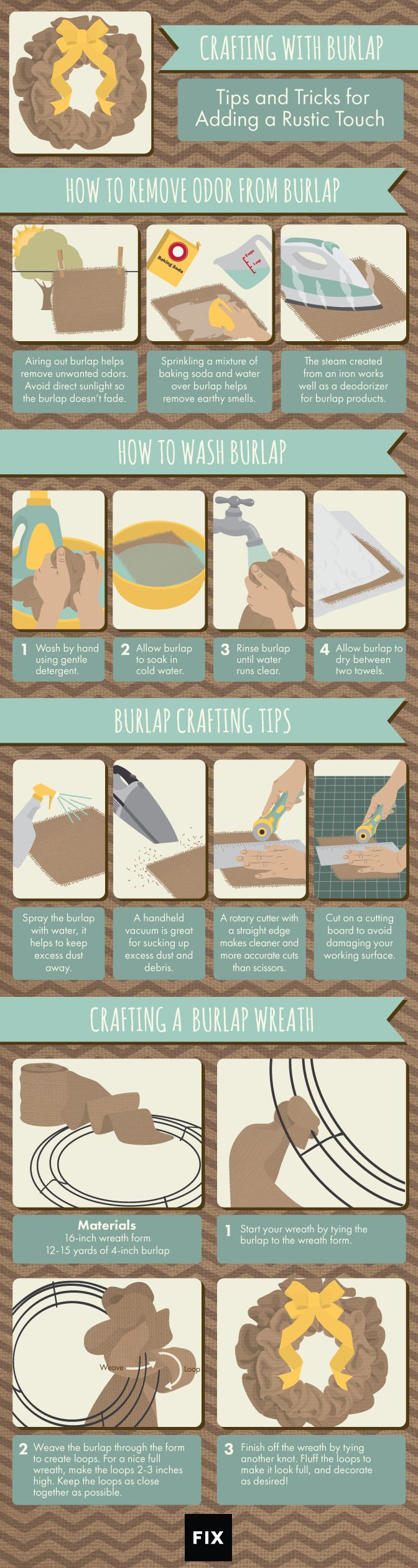 With the growing popularity of burlap home décor, learn how to properly clean, create, and maintain all your burlap crafts. #burlap #DIYcrafting #burlapcrafts