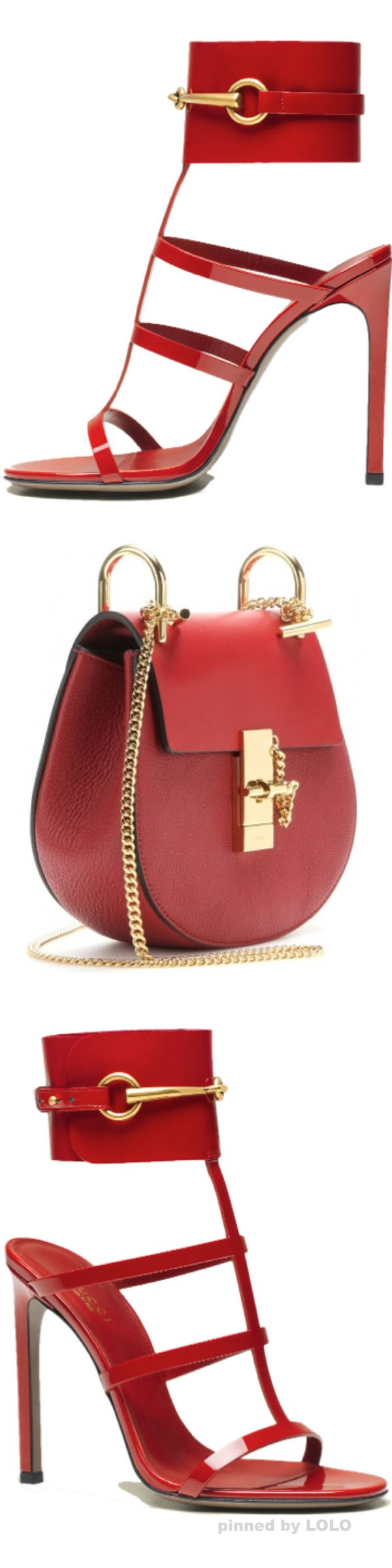 Gucci ~ Leather Ankle Strap Sandals, Red and Chloé ~ Drew Small Leather Shoulder Bag, Red