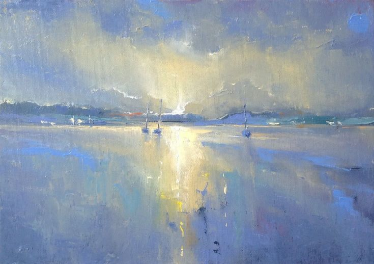 ARTFINDER: 'The Harbour, Cornwall' by Dan Wellington - Original oil painting inspired by the last rays of sun across the harbour at low tide. I painted this from memories and photographs taken during my many visi...