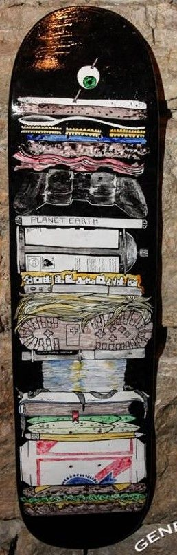 """""""Sandwich Board"""" Original Skateboard Deck Art by Claire Thoele  *note this deck is currently showing at Eronel 285 Main St. Dubuque, IA in The Dark Slide Fall Skate Art Show until Nov. 28th and will not ship until that time.  *photo courtesy of General Bob Photography"""