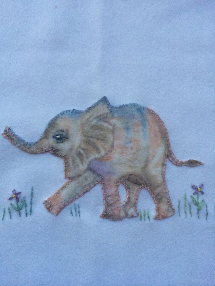 Baby Elephant on woollen Jungle Blanket hand painted & sewn by Marion.