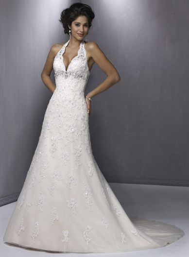 A-line Halter Satin Lace Wedding Dresses