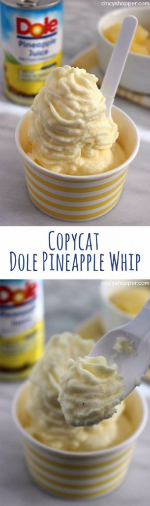 50 More Best Copycat Recipes From Top Restaurants - Copycat Dole Pineapple Whip - Awesome Recipe Knockoffs and Recipe Ideas from Chipotle Restaurant, Starbucks, Olive Garden, Cinabbon, Cracker Barrel, Taco Bell, Cheesecake Factory, KFC, Mc Donalds, Red Lobster, Panda Express http://diyjoy.com/best-copycat-restaurant-recipes