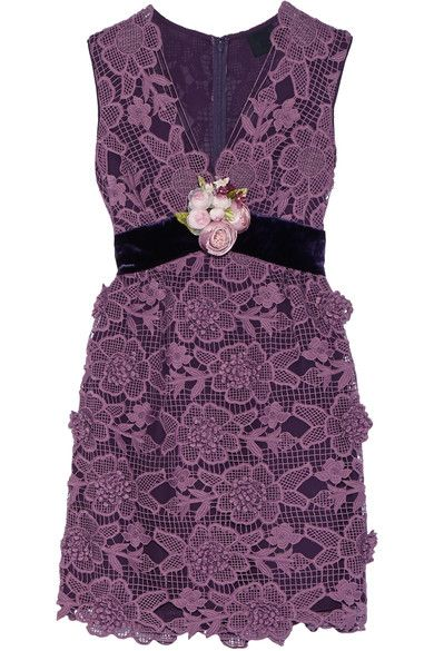 Plum crocheted lace, dark-purple velvet Concealed hook and zip fastening at back 100% polyester Dry clean