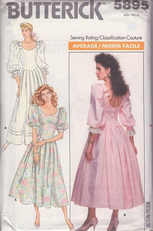 Butterick 5895 Vintage 80's Sewing Pattern LOVELY Scooped Neck & Dipped Back Basque Waist Pleated Ski...