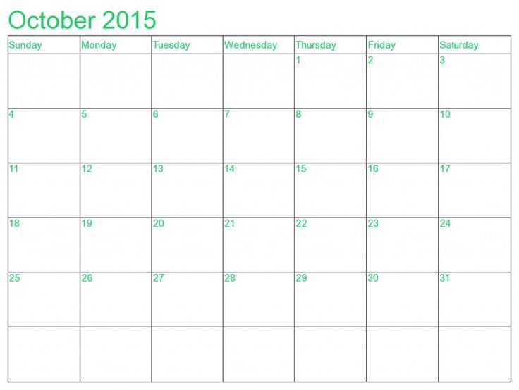 blank word calendar 2015