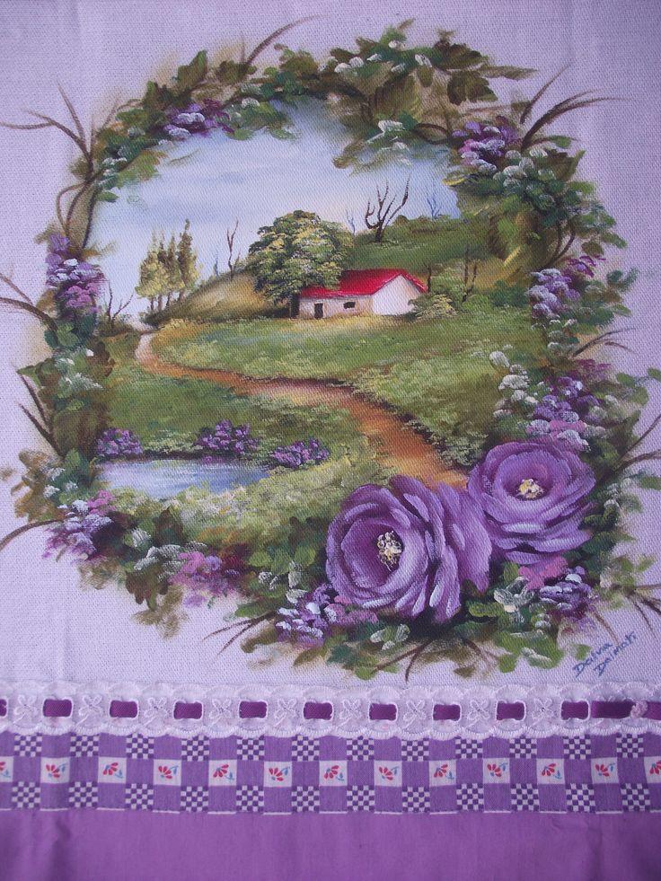 Paisagem e rosas lilás no pano de prato (VENDIDA)