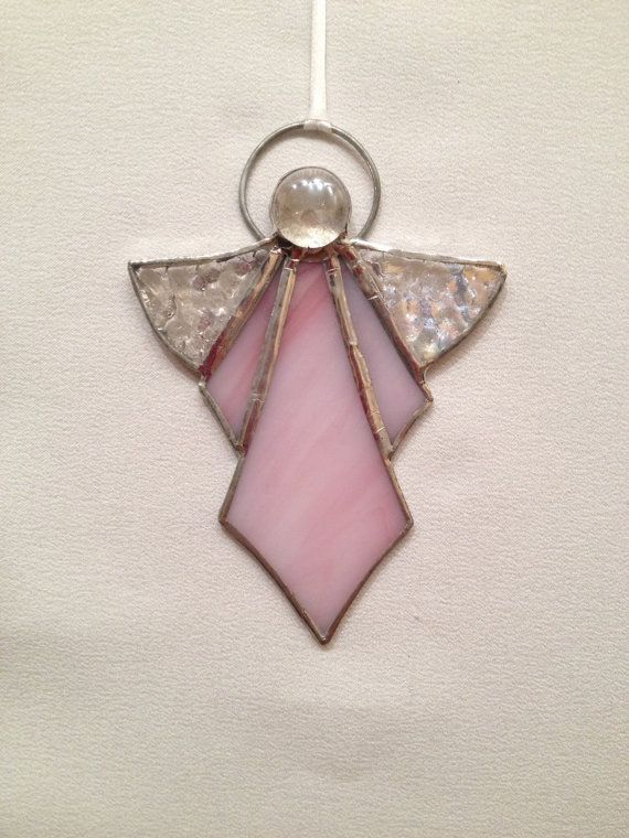 Stained Glass Ornament Pink Angel
