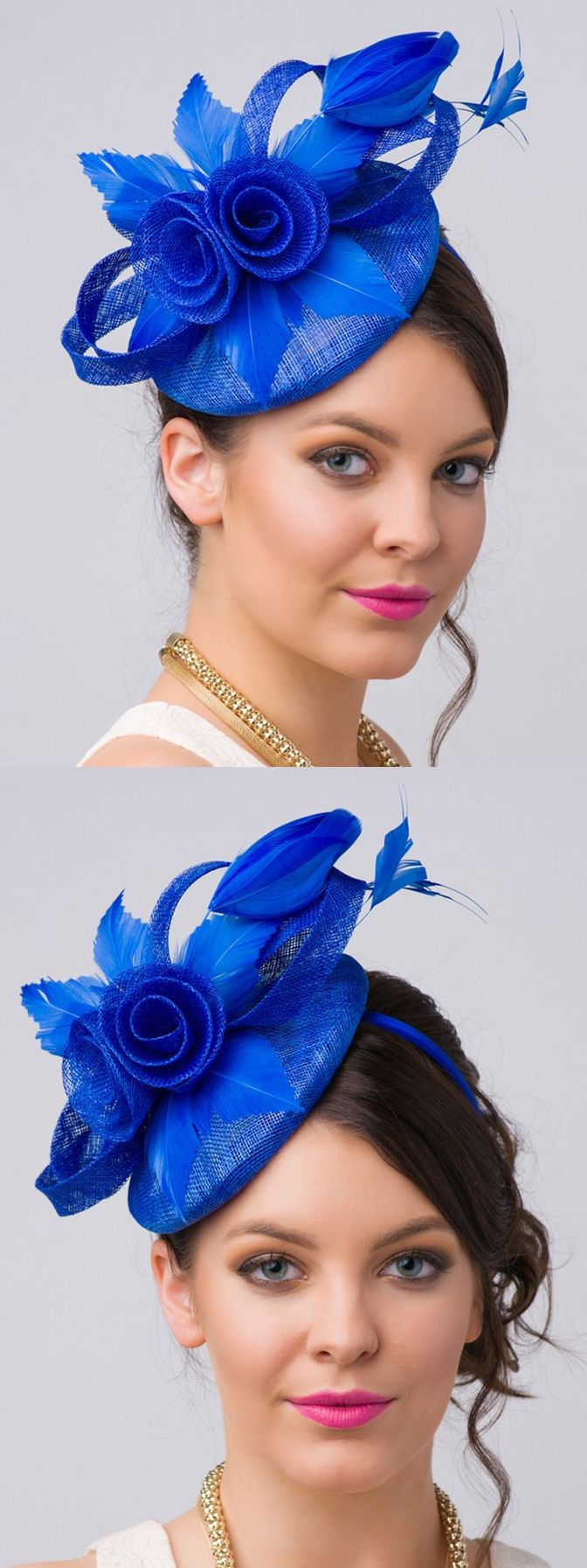 Royal Blue fascinator for day at the races or spring wedding in Brilliant Royal Blue. Kentucky Derby, Royal Ascot, Dubai World Cup Designer Hat for Racing Fashion Outfits. Fashionista Hats for the Races. #weddingoutfits #racedayoutfits #kentuckyderby #royalascot #ascothats #millinery #handmade #etsyfinds #affiliatelink #bluehats #bluefascinator #fascinators #designermillinery #designerhats