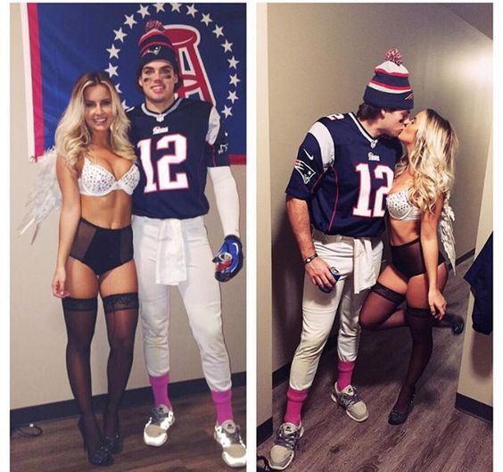It's a Tom Brady and Gisele (Victoria's Secret Model) couples costume! Simple and straightforward, if you've got the bod.... couples costume ideas 2017 | top couples costumes