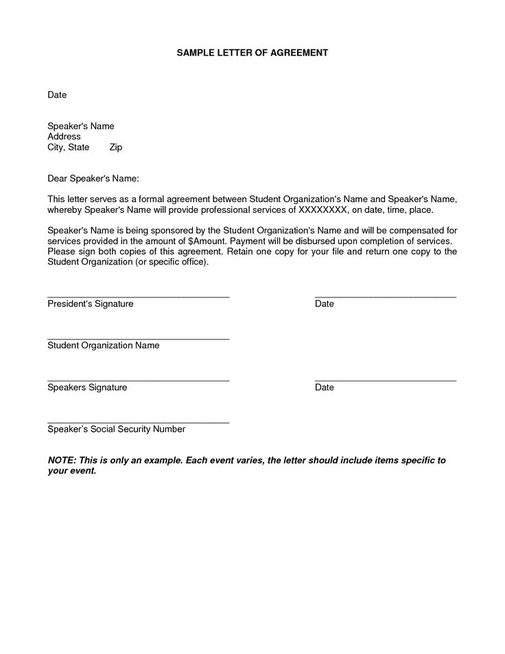 letter of agreement samples template - seeabruzzo