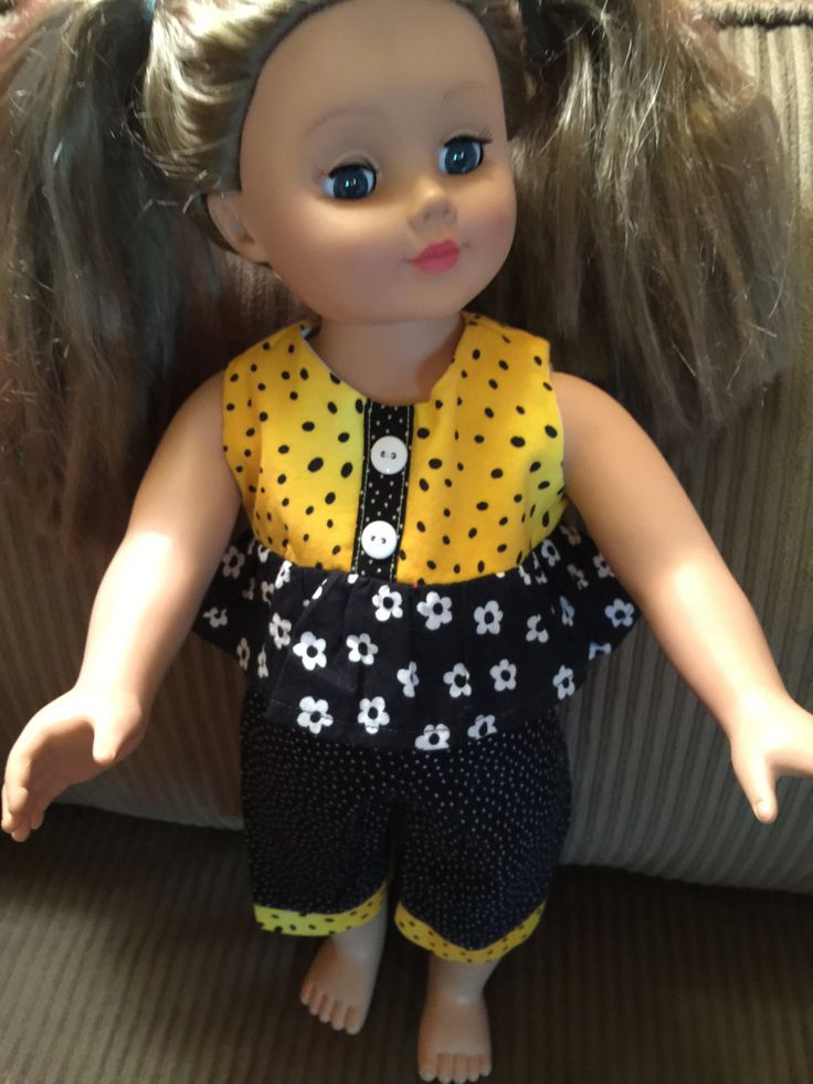 """American Girl Doll Clothes   Fits All  18"""" Dolls, Yellow & Black Capri Pant set by CreativeCreationsDeb on Etsy"""