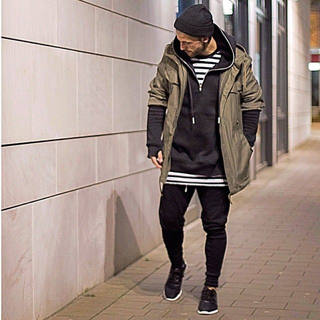 """Shot by night*  #kostawilliams  Jacket: bundeswehr parka - - - - - ---Hoodie: @otheruk  Shirt: stripes @otheruk  Jogger: @favelaclothing  Shoes: @adidasy3…"""