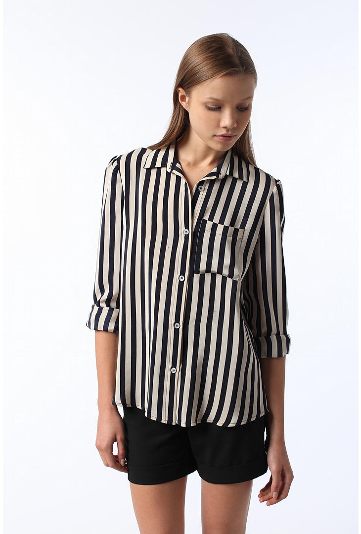 urban outfitters striped blouse paired with black