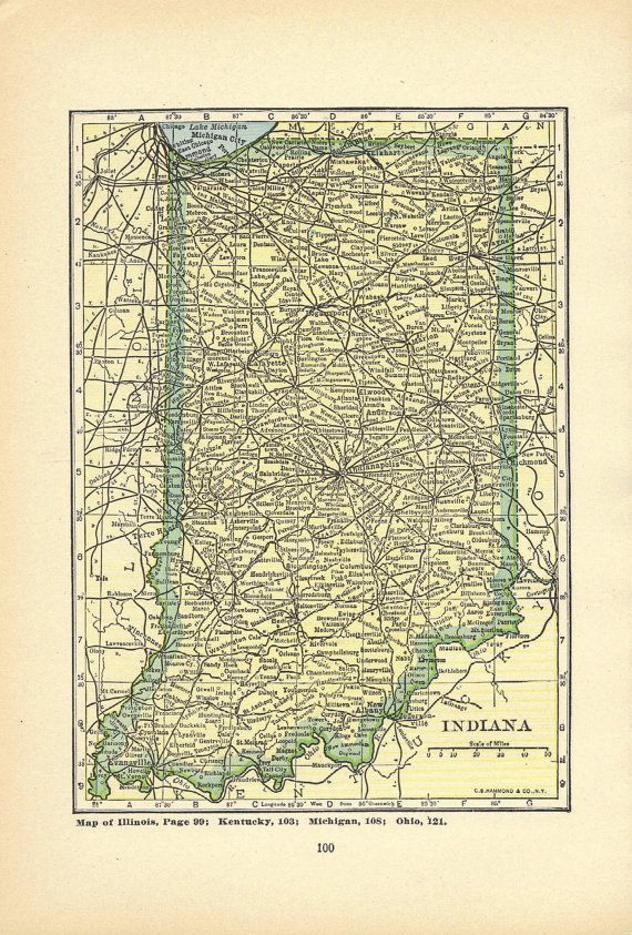 105 best indiana maps images on pinterest indiana map indiana indiana 1920s vintage book print 2 sided print vintage illustration to publicscrutiny Images