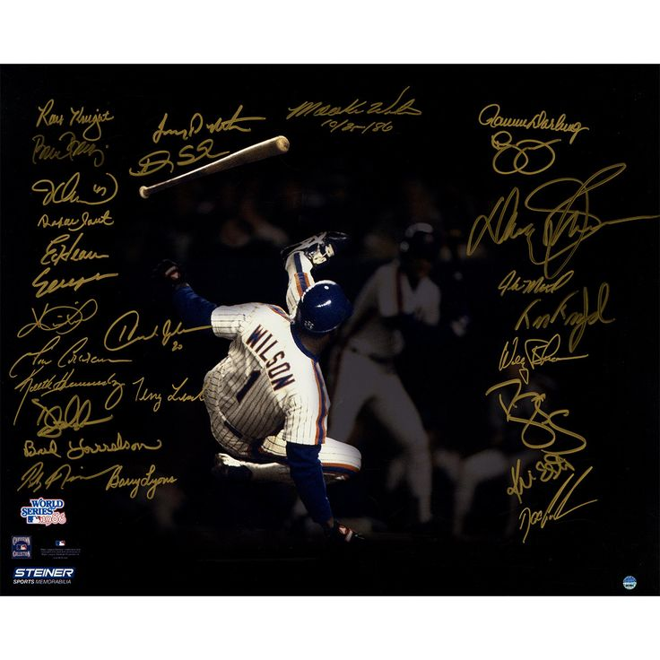 1986 New York Mets Team Signed Mookie Wilson Avoiding Being Hit By Pitch Game 6 1986 World Series 16x20 Metallic Photo (27 Signatures)