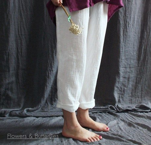 """WORLDWIDE FREE SHIPPING  Women  Cotton Zen Style Casual Pants  Size: one size - with elastic waist  Length 96cm, Hip 106cm,  Thigh 60cm, calf circumference 34cm  Size- \"""" Due to manual measurement err"""