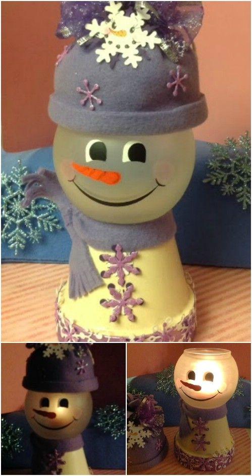 DIY Clay pot Snowman Light