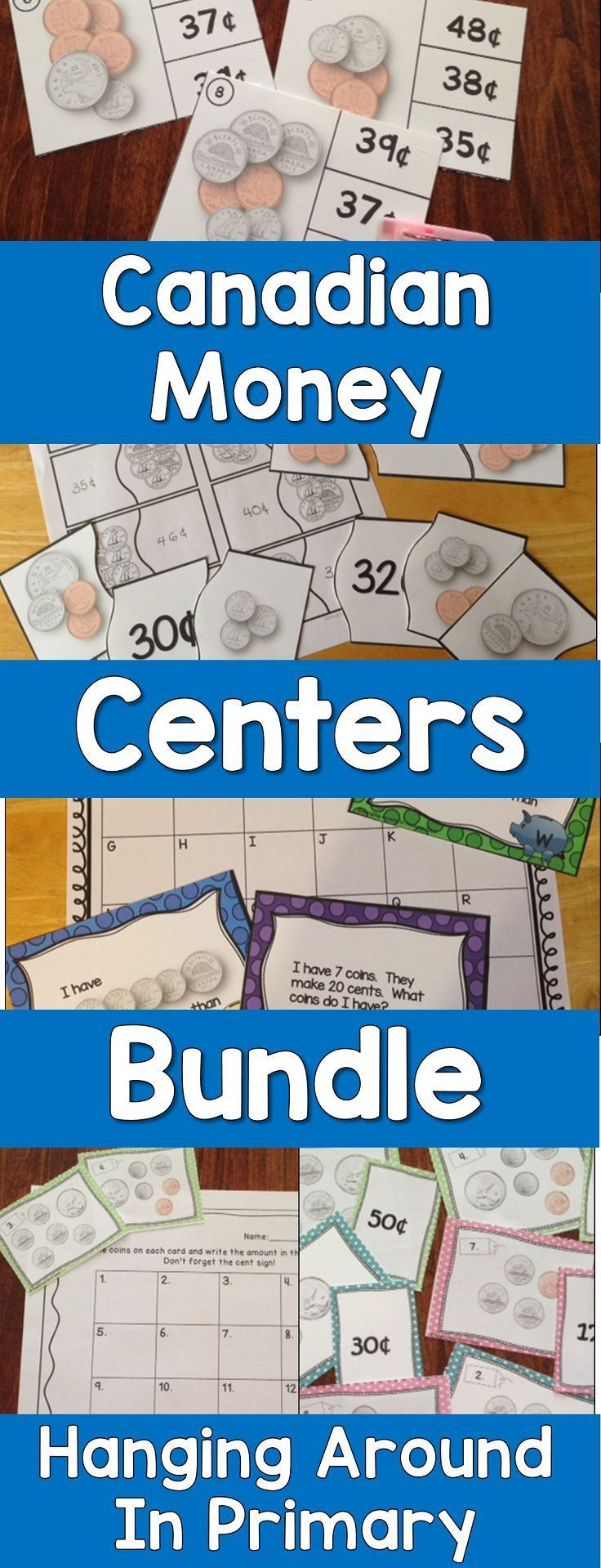 Canadian teachers this bundle is for you - 5 hands on money math centers for your first and second grade students.