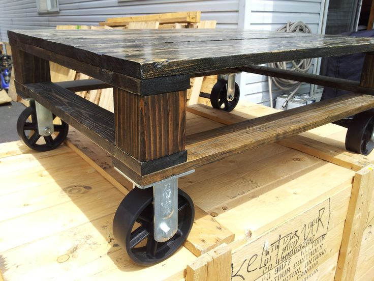 pipe&pallet | Ebony Finish with Industrial Casters