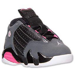 Girls' Toddler Air Jordan Retro 14 Basketball Shoes| Finish Line | Metallic Dark Grey/Hyper Pink/Black