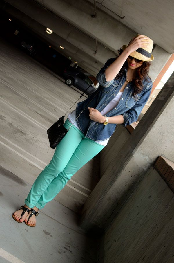 mint jeans, fedora, love that denim shirt