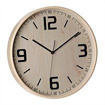 Wooden Wall Clock White Pine 32cm