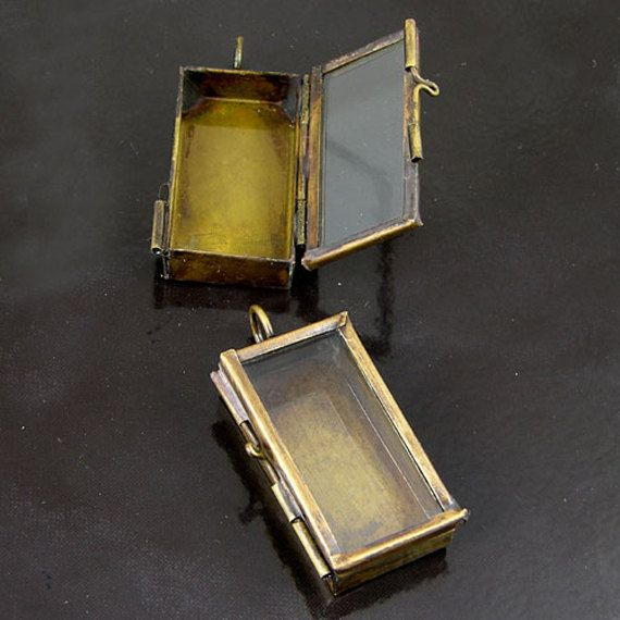 4 Our Glass Locket Jewelry Shadow Box Rectangle Vintage Brass Pendants,