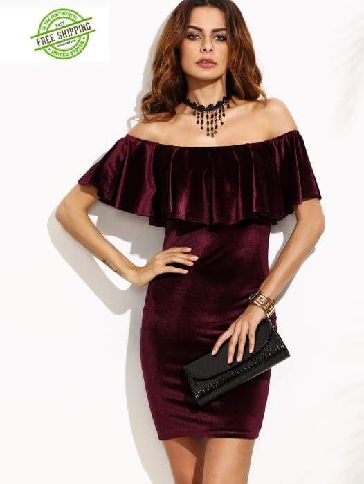 c7d20352c0 Burgundy Ruffle Off The Shoulder Velvet Bodycon Dress