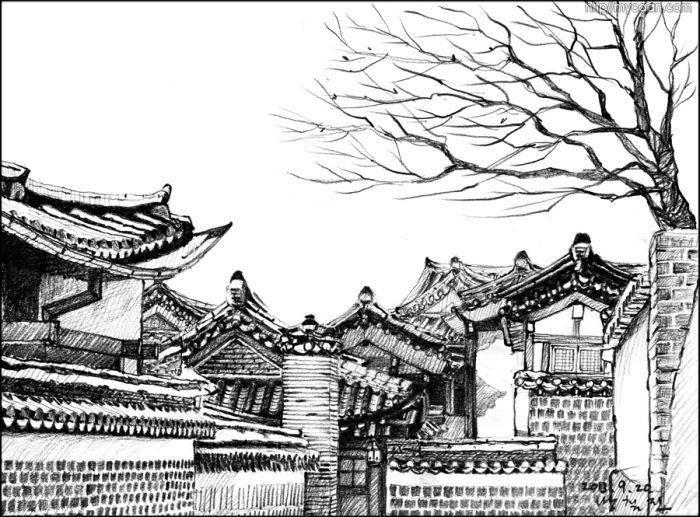 북촌 눈이 살짝내린 날의 북촌모습을 그려보았습니다. 지붕이 겹쳐져 멋있는 풍경을 만듭니다.  그림 : 방철린/ Bang, Chulrin / 20130926/칸종합건축사사무소(주)