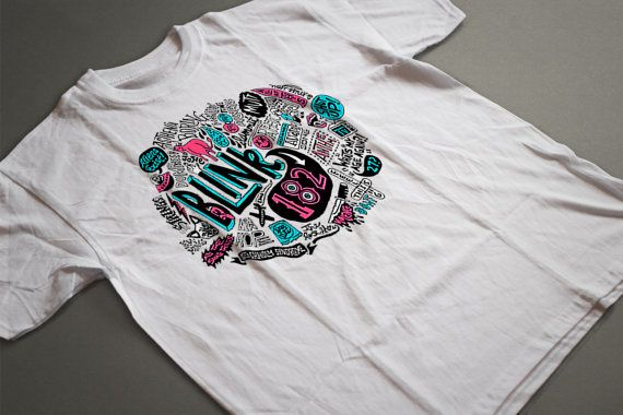 Blink 182 T-shirt. Music t-shirts. Rock tees. Women's tshirts. All time low. Unique design.