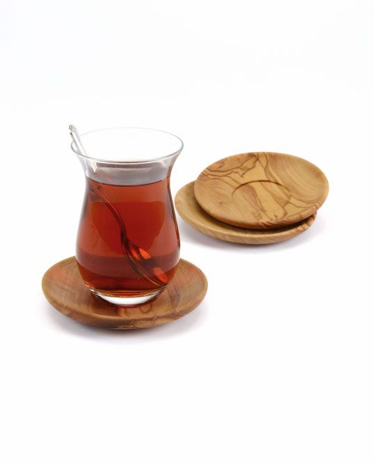 Olive wood Turkish tea cup holder