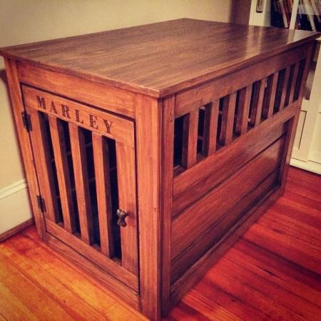 Prettiest dog crate you've ever seen.  Of course it's diy!  Wood plan project pet crate end table stained diy furniture.