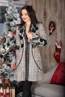 Palton elegant gri din stofa cu accesorii metalice si dantela neagra • Effect