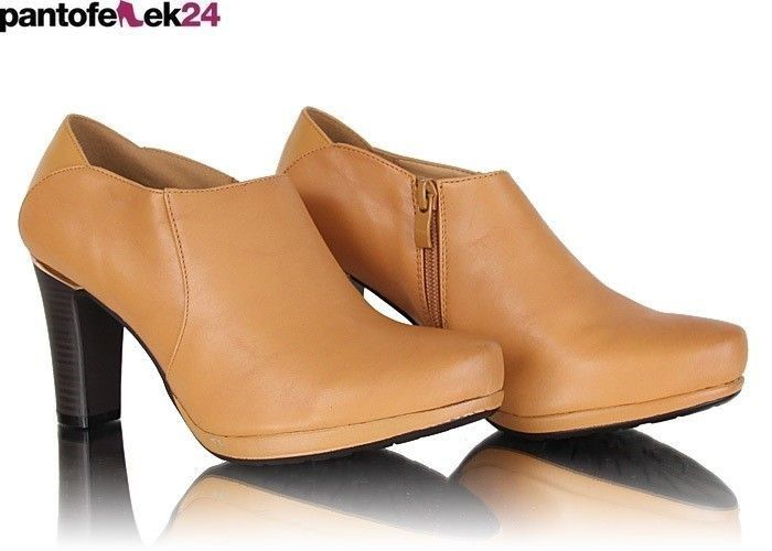 Camelowe szpilki ze złotymi elementami / Camel heels with golden elements / 34,90 PLN #beige #heels #fashion #elegant #trend