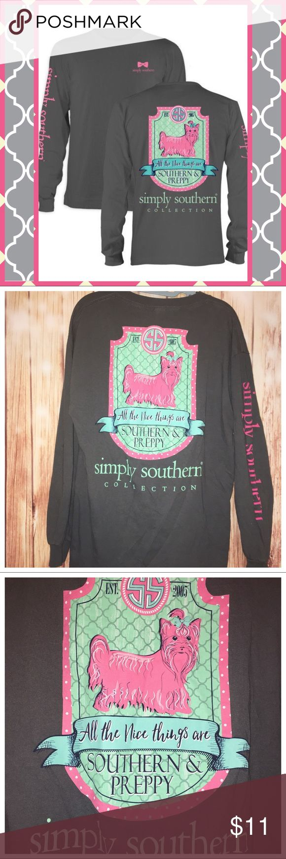 🐶 Simply Southern Preppy Puppy Shirt🐶 Preloved and in VGUC size medium Simply Southern Long sleeve shirt. Gray with pink preppy and prissy dog on the back. Simply Southern logo extends the length of the sleeve. Cute bow logo on the front of the shirt. Simply Southern Tops Tees - Long Sleeve