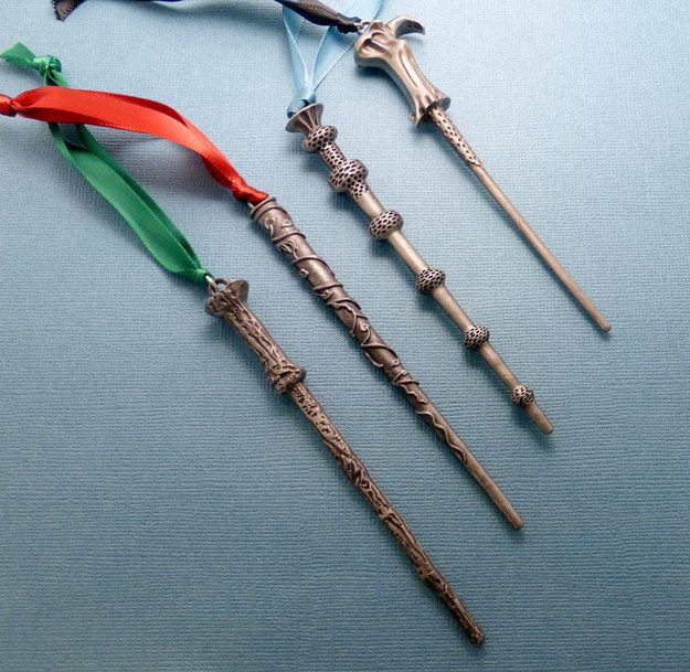 Wand ornaments, $9.99 (each) | 14 Magical Harry Potter Ornaments To Hang On Your Christmas Tree