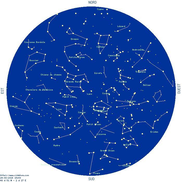 Carte du ciel - étoiles, constellations et planètes