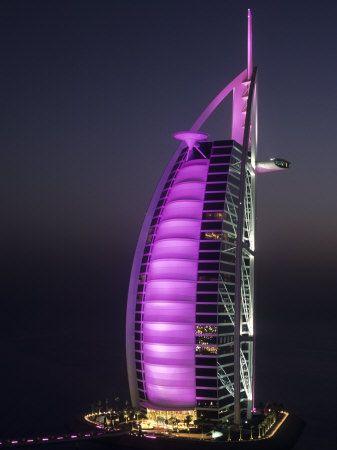 Burj Al Arab Hotel at night.  Dubai, UAE ~ I didn't get to see it at night! Boohoo!
