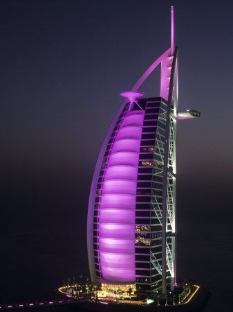 Burj Al Arab Hotel at night.  Dubai, UAE ~ I didn't get to see it at night! Boohoo!