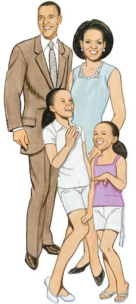 President Barak Obama & Michelle Obama....  With Malia & Sasha Obama...