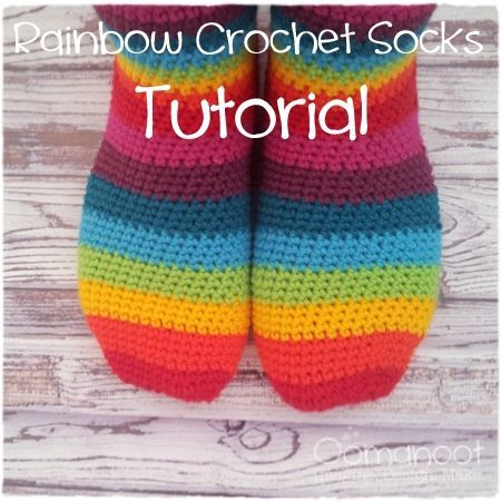 Rainbow Slipper Socks Tutorial (Giveaway #3), also has a generic set of instructions to adapt to your size foot which may help me crochet socks that fit!