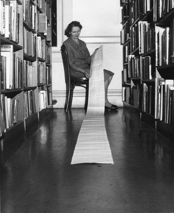 Ethel Swanger holds list of signatures endorsing the library bond issue,  Orange, California,