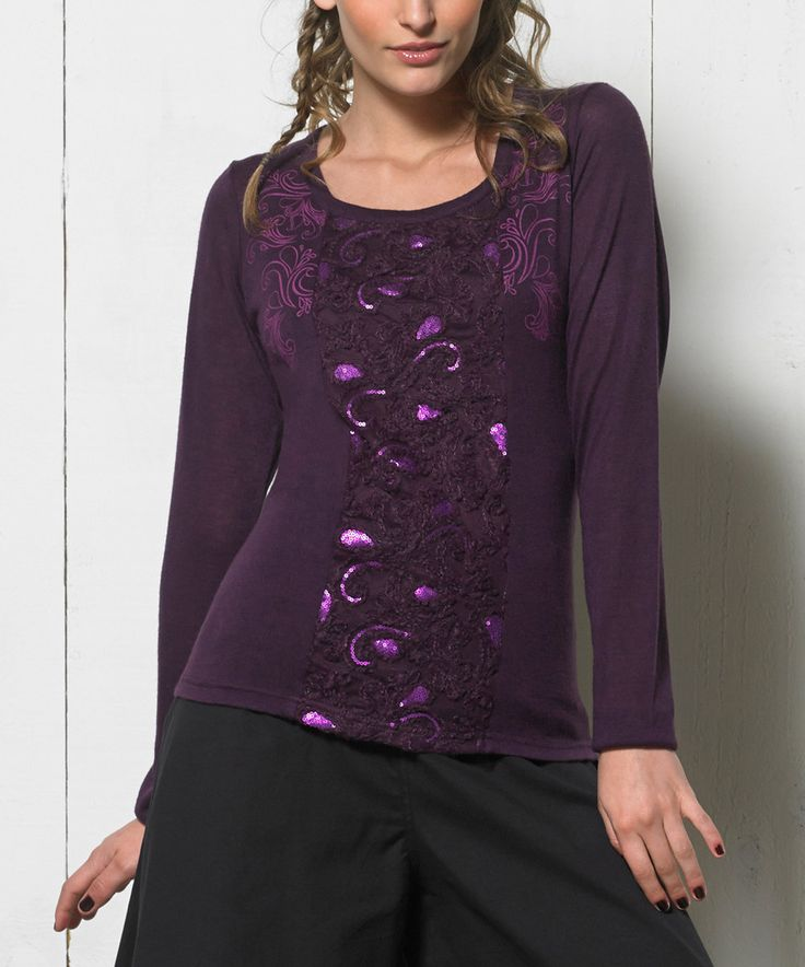 Love this Coline USA Purple Metallic Swirl Top - Women by Coline USA on #zulily! #zulilyfinds