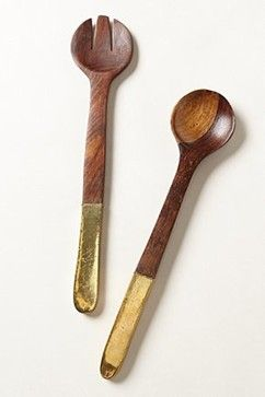 Copper-Plated Serving Set - eclectic - serving utensils - Anthropologie