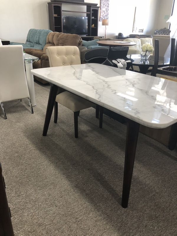 Marble Top White Dining Table Pay 40 Down And Take It Home